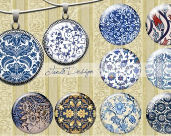 Digital Collage Sheet-VINTAGE  BLUE CIRCLES- - 1 inch Circles Digital Download for bottle caps, jewelry pendants