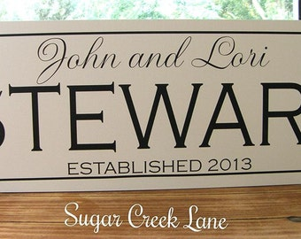 Christmas Gift, Personalized Family name sign, Family Established Sign, Wood sign established date, personalized wedding gift anniversary