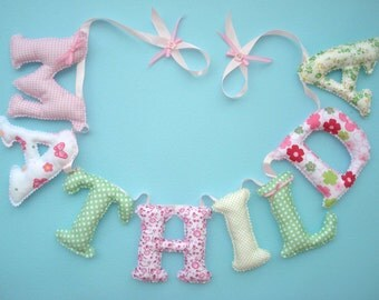 Fabric letter name banner, girl's room name banner - PINK - GREEN COLOR pattern,  Baby Girl Name Wall Art - Made To Order