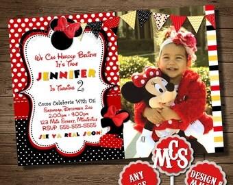 MINNIE MOUSE INVITATION, Birthday Party Invitation, My Celebration Shoppe, Printable Invitation, Birthday Card, Minnie Mouse Card, You Print