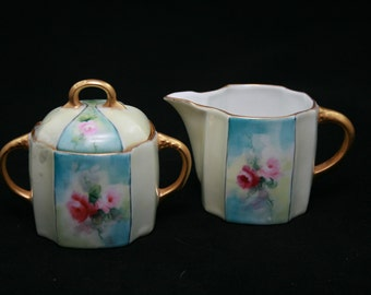 Hand Painted Creamer and Sugar marked Germany