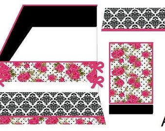 Pink and Black, Damask, Polka Dot, Baby Bedding Crib Set