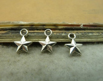 100 Antique Bronze Silver 8x11mm Five-Pointed Star Charms Pendants AC5082