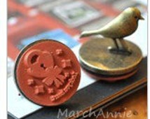 1 pc Iron Bird stamp -Vintage Stamp - Iron Rubber Stamp - Diary Stamp - Lock heart