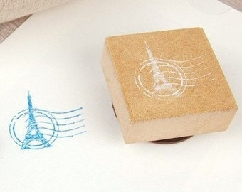 Lace Stamp - Wooden Rubber Stamp - Rubber Stamp - Diary Stamp Eiffel Tower