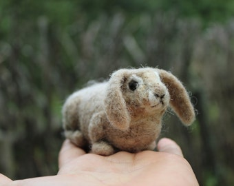Needle Felted  Rabbit or Bunny Felted Animal