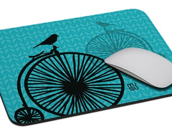 Bicycle with one bird (turquoise - pink) - Mouse Pad - Soft Fabric Top - Heavy duty natural rubber backing - Custom made