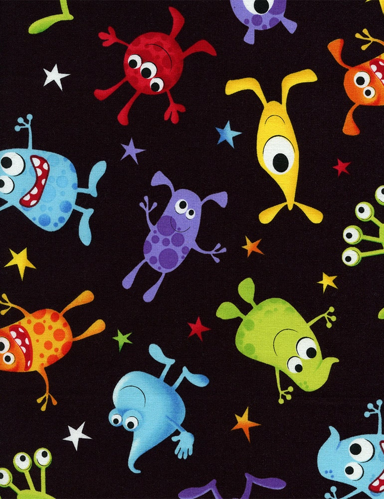 Timeless treasures tossed aliens fabric multi ufos stars for Alien fabric