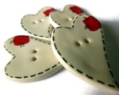Ceramic White Heart Buttons with Red Patch, Focal Novelty Button, Large Primitive Folk Buttons for Children, Valentine's Day - ThisOnesMineDesigns
