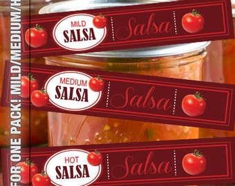 SALSA Mild Medium and Hot wrap around labels for canning jars
