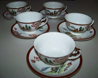 Hayasi China Hand Painted Five Cup & Saucer Sets