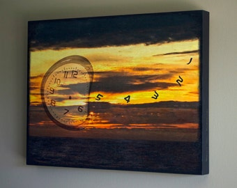 Abstract Clock Photograph Embedded on Wooden Panel, Orange and Black, Imagination, 14x18