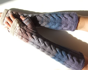 Handmade multicolor ( brown, gray, blue, blue-violet ) fingerless gloves, wrist warmers, fingerless mittens. Knitted of PURE wool.