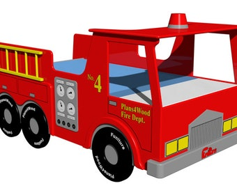 Digital Download: Fire Truck (Twin Size) Bed Woodworking Plan