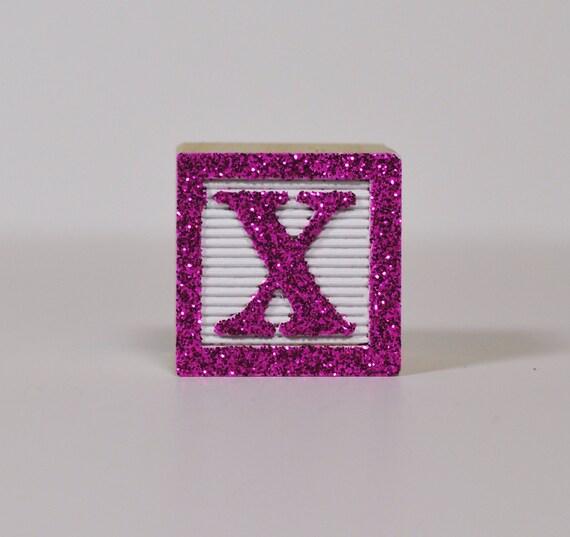 Hot Pink Glitter on White  (Sample Wooden Block Color)