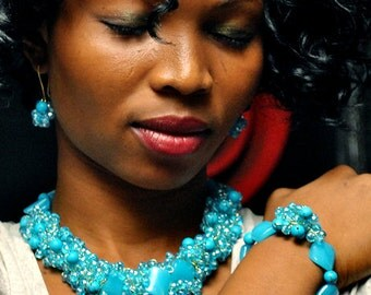 Nigerian African Bridal Party Engagement Traditional Turquiose Blue beaded necklace, earring and Bracelet jewellery set