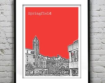 Springfield Ohio Poster Print Art Skyline OH