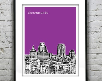 Sacramento California Poster Art Skyline Print Version 1