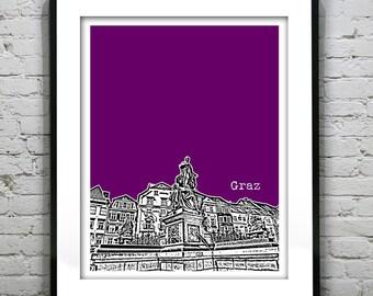 Graz Austria Poster Art Print City Skyline