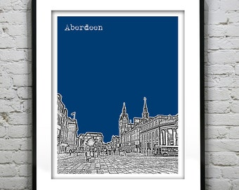 Aberdeen Scotland Skyline Poster Art Print