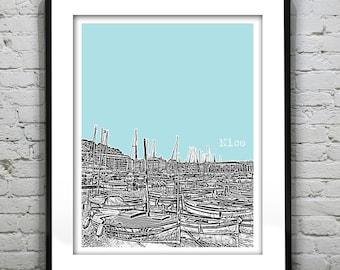 Nice France Poster City Skyline Art Print Europe