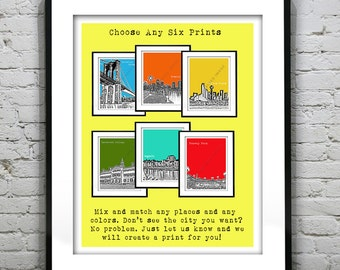 6 Pack Art Print Posters Mix and Match Your Choice any Cities, Colors, Size