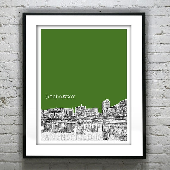 Rochester Minnesota Poster Art Skyline Print  MN