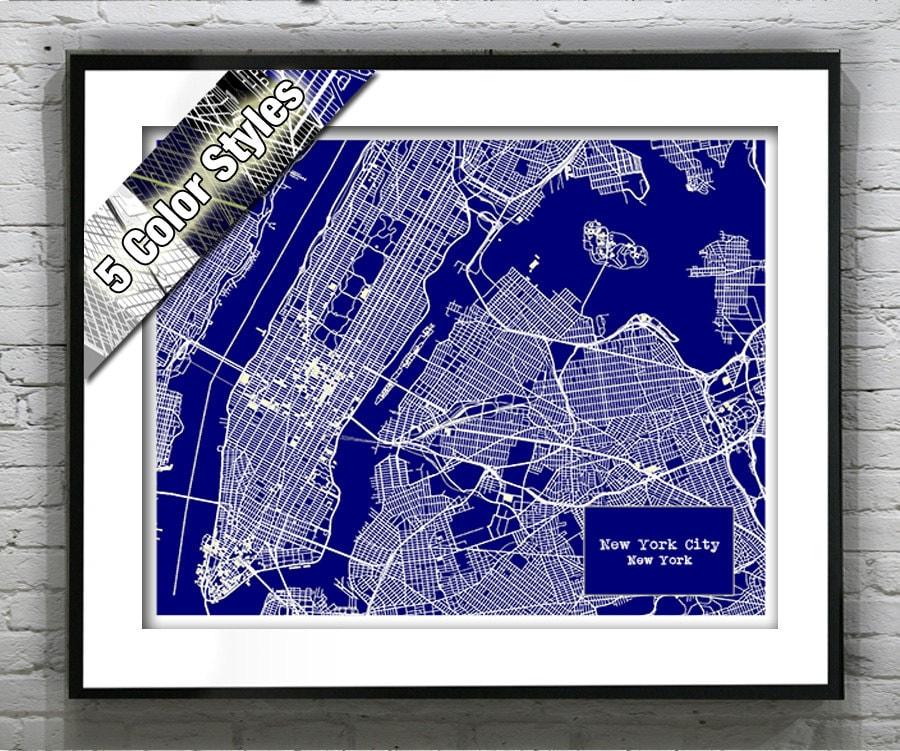 New York City Blueprint Map Poster Art Print Several Sizes