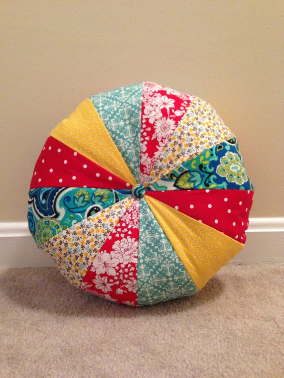 Round Yellow Decorative Pillow : Round Pillow Pouf Pillow Red Yellow and by UniquelyAmandaCrafts