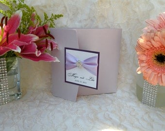 Brooch Wedding Invitations - Lavender Couture Pocketfold Invitation - Custom Handmade Wedding Invites by Wrapped Up In Details