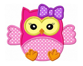 Girl Baby Owl Applique Machine Embroidery Design NO:0144