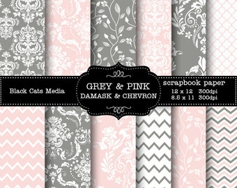 Damask and Chevron digital Printable Paper  pink and grey  12 x 12 in AND 8.5x11 in  - weddings, invitations, scrapbooking, instant download