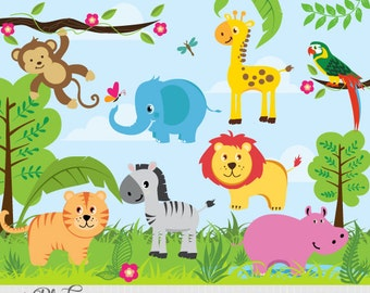 Jungle Animals - African Safari Clip Art / Digital Clipart - Instant Download - EPS and PNG files included - 23 cliparts - commercial use OK