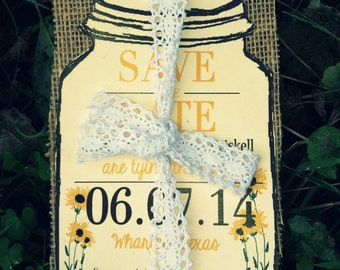 Rustic Mason Jar Save the date with little sunflowers with burlap wedding invitation -50