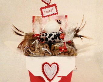 Cat or ferret gift basket with treats and toys, unique cat gift, cat birthday, personalized, cat toys, ferret treats