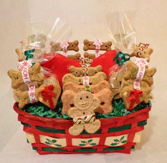 Etsy Dog Gift Baskets : Items similar to christmas custom dog biscuit gift basket