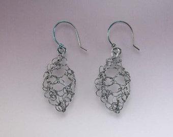 Knit Fine Silver Leaf Lace Earrings Small Oxidized