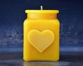 Heart Shape Beeswax Candle, Home Decor, Wedding Shower Gift, Hostess Gift