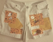 peanuts snoopy girls hand stitched patched shorts
