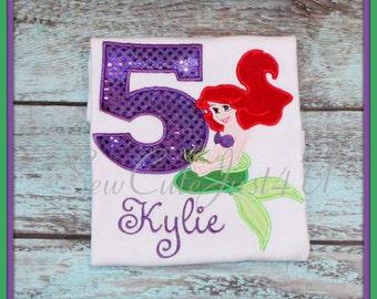 Little Mermaid Birthday Number Shirt