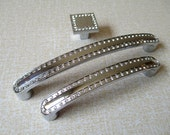 Kitchen Cabinet Door Handle Knob Pulls Silver Clear Glass Crystal / Modern Dresser Pulls / Drawer Pull Handles Hardware 128 mm 571