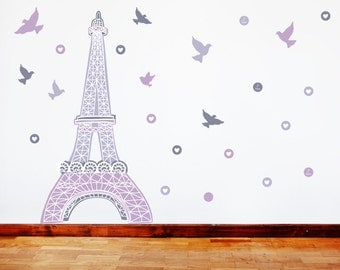 Paris Wall Decals - Eiffel Tower Fabric Wall Decals Purple