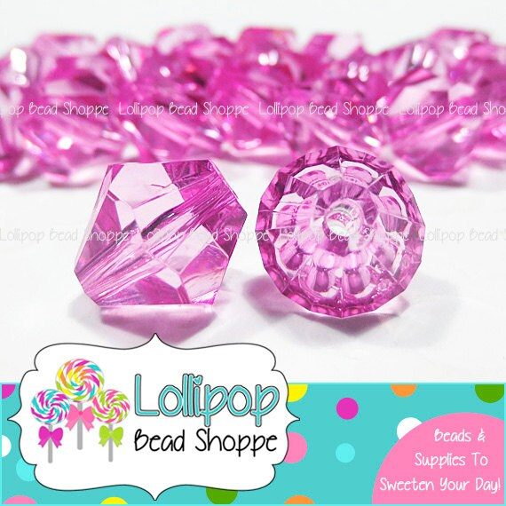 hot pink bicone beads 14mm chunky beads by lollipopbeadshoppe. Black Bedroom Furniture Sets. Home Design Ideas