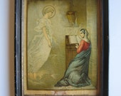 antique Russian chromolithograph, presenting the Annunciation of Lord