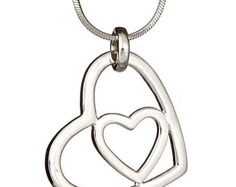 925  sterling silver and cz heart necklace