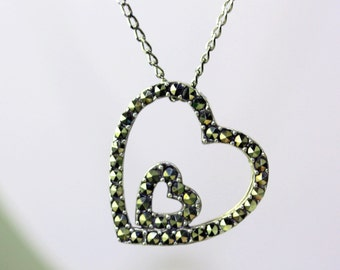 sterling silver and marcasite heart necklace.plain marcasite pendant necklace. marcasite heart jewelry. antic silver pendant