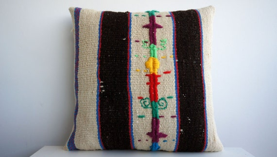 TRIO / 16x16 Vintage Hand Woven Turkish Kilim Pillow  - Old  Kilim Cushion 156, Striped, beige, brown, cream, red, yellow, green, teal