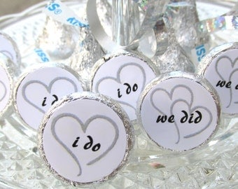 Wedding Favors, Candy Stickers fits Hershey Kisses, Black and White Wedding Decor, Hearts, I Do, We Did