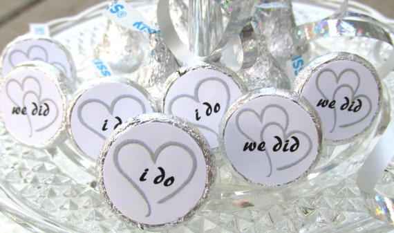 Wedding Favors Candy Stickers Fits Hershey Kisses Black And
