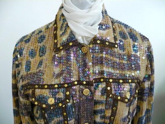 Sassy Jacket Sparkly Sandy Starkman Sequin Pavé Evening Jacket Size M Leopard Jungle Print Tie Dyed Lining LikeNew.